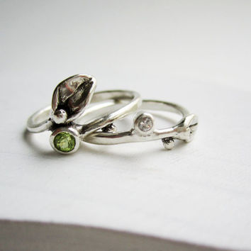 Set of 2 Rings, Small Leaf Silver Rings with Peridot and White sapphire