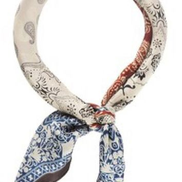 Silk Scarf - Two Tone Paisley