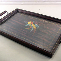 Antique Mahogany Wood Serving Tray Tropical Asian Bird Framed Print