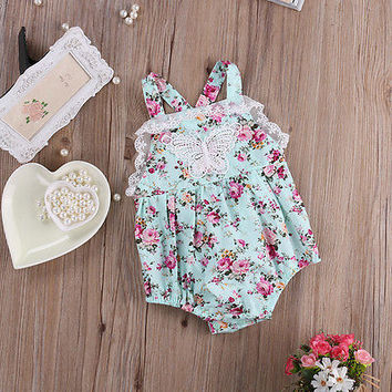 One-pieces New 2016 Summer Baby Floral Romper Baby Girl Ruffle Lace Rompers Infant Toddler Jumpsuit Newborn Baby Girl Clothes