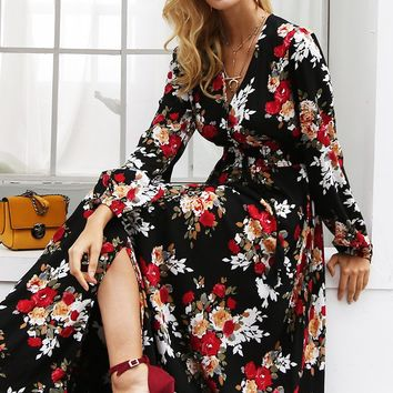 Elegant v neck floral print long dress women Long sleeve drawstring button autumn maxi dress Casual robe femme vestidos