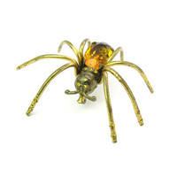 Czech Large Spider Brooch. Topaz Amber Glass, Rhinestones, Gold Gilt Brass. Vintage 1930s Art Deco Halloween Jewelry