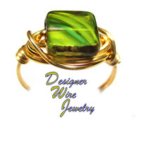 DWJ0576 Stunning Amazon Jungle Green Czech Art Glass Gold Wire Wrapped Ring All