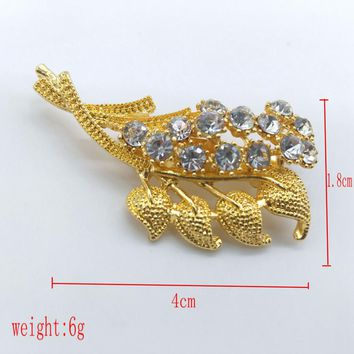 High Quality Vintage Style Crystals Imitation Pearl Large Bow Brooch Wedding GD