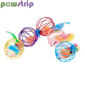 pawstrip 1pc False Mouse Cat Toy Interactive Mouse in Rat Cage Ball Toy For Cats Gatos Jouet Chat Juguetes Para Gatos Katten
