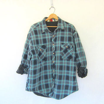Vintage turquoise Plaid Flannel Jacket / Grunge Shirt / Button up insulated shirt / quilted coat