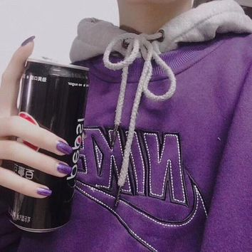 Nike Retro Violet Classic Embroidered Pullover Tops Sweater Sweatshirts