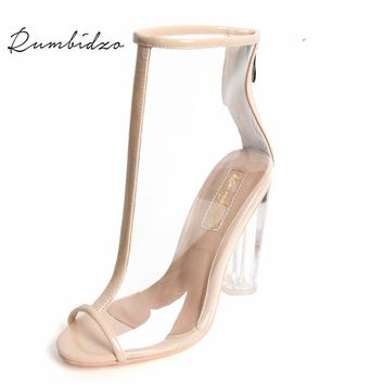 Rumbidzo 2017 Sexy PVC Transparent Gladiator Sandals Peep Toe Shoes Clear Chunky Heels Ankle Boots For Women Sandalias Mujer