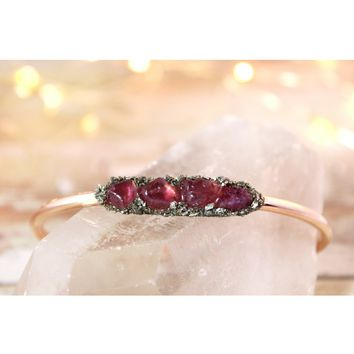 Raw Ruby July Birthstone Gemstone Bracelet