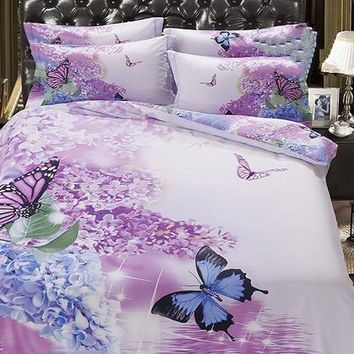 3D Butterfly and Lilac Printed Cotton Luxury 5-Piece Comforter Sets