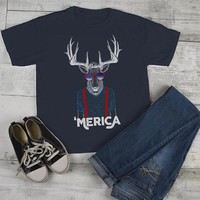 Kids Hipster Shirt Merica T Shirt Patriotic 4th July Deer Graphic Tee Baby Hipster Clothes