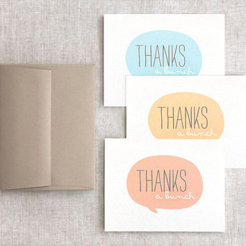 Autumn Thank You Cards Set - Thanks a Bunch - Pastel Blue, Muted Orange Tangerine - Thanksgiving, Bridal Shower, Recycled Cards