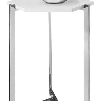 Accent Table - Hexagon / Glossy White / Chrome Metal