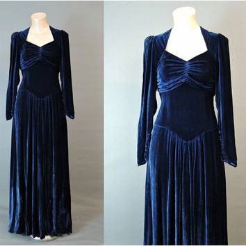 Vintage 1940s Blue Velvet Gown, 32 inch bust, AS-IS needs repairs, 40s Evening Dress