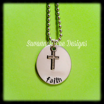 Handstamped faith necklace with cross charm. Inspiration necklace. Hand-stamped jewelry. faith necklace