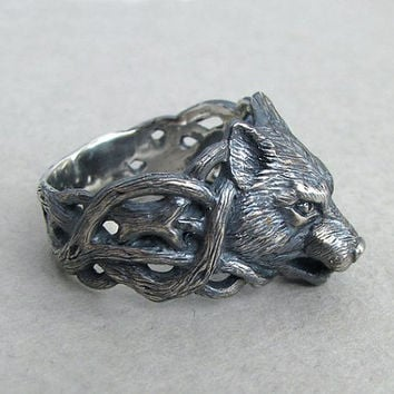 Wolf Ring.Wolf Jewelry.Silver Wolf.Animal Ring.Unique ring.Viking ring.Norse ring.Scandinavian ring.Nordic ring.Fenrir Wolf Head Ring.Wolves