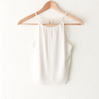 Ribbed Halter Neck Crop Top - White