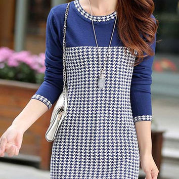 Blue Long Sleeve Houndstooth Knitted Dress
