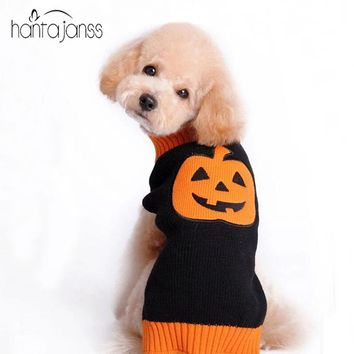 HANTAJANSS Halloween Pumpkin Pattern Dog Sweater Knitted Sweaters For Dogs Puppy Autumn / Winter Clothing Pet Supplies Costume