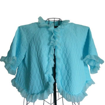 Vintage Bed Jacket Blue Qulited Fabric with Sheer Ruffle Edge- Nightwear- Size L