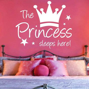 DCTOP The Crown Princess Sleep Here Star Wall Stickers For Kids Room Waterproof Wall Decals Home Bedroom Decoration Accessories