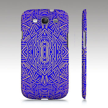 Samsung Galaxy S3 case, tribal aztec ethnic pattern design, royal blue gold, art for your phone