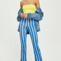 Blue Striped Flare Trousers | Topshop