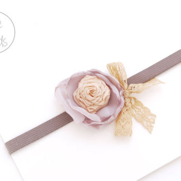 Baby Headband, GRAY Flower Baby girl Headband, newborn Headband, Baby Headbands, Infant Headband, Baby Flower girl, Baby
