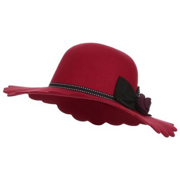 Women's Wool Wide Brim Fedoras Hat for Women
