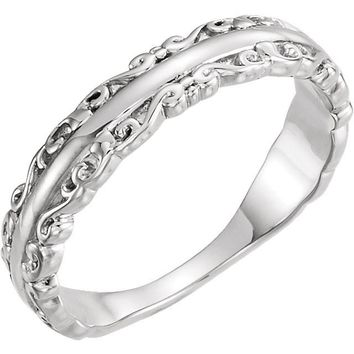 14 kt White Gold Decorative Stackable Ring