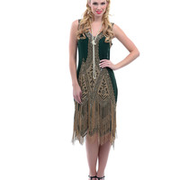 Forest Green & Gold Embroidered Reproduction 1920s Flapper Dress