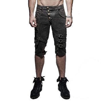 DCCKON3 Punk Rock Men Slim Short Pants Steampunk Casual Shorts Rivet Sequined Washed Old Spring Cotton Shorts