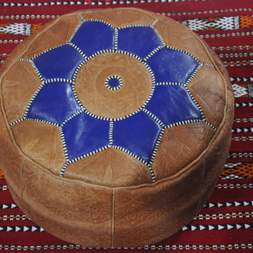 Moroccan Pouf Leather Ottoman Poof Pouffe pouffes hassock Footstool Bang leather pillow Natural