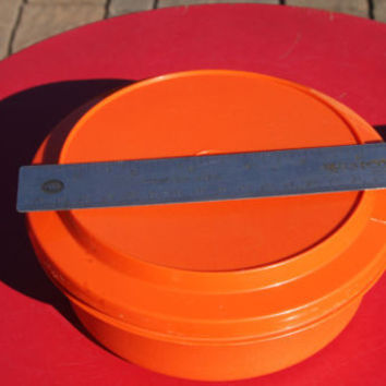 Orange Tupperware Round Bowl with Lid Vintage Container