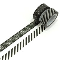 Washi tape set: Black aztec & stripes/ black and white / triangle / tribal / packaging / gift wrapping