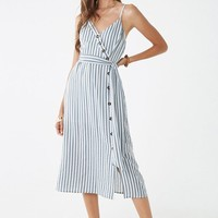 Striped Mock Wrap Midi Dress