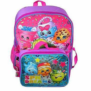 "Moose Shopkins Girl's 16"" SPK Dream Pink School Backpack w/Detachable Lunch Bag"