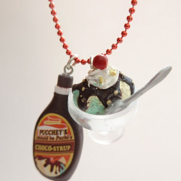 ice cream Sundae necklace with chocolate bottle syrup by shimrita