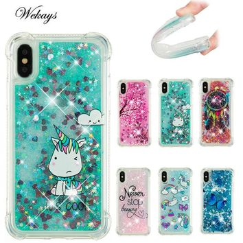 Wekays Unicorn Quicksand Case for iphone X Case Silicone TPU Dynamic Liquid Glitter Cover for iphone 6 6s 7 8 plus 5 5S Fundas