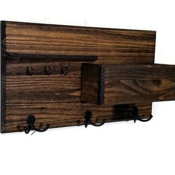 Hamilton Wall Mounted Mail Organizer - 3 Key hook Style - Stained Version