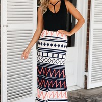 Chic Boho Geometry Printed Maxi Skirt