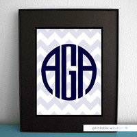 Circle Monogram Print Art, Printable wall decor poster, baby nursery children dorm, typography - chevrons, personalized initials