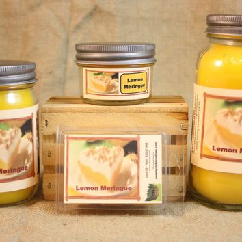 Lemon Meringue Pie Candle and Wax Melts, Bakery Scent Candle, Highly Scented Candles and Wax Tarts, Mason Jar Candle, Housewarming Gift
