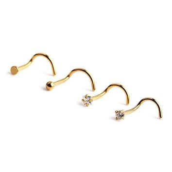 18G Surgical Steel Flat Ball Clear Diamond CZ Nose Stud Rings Screw Piercing Jewelry 4PCS