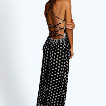 Poppi Border Print Strappy Maxi Dress | Boohoo