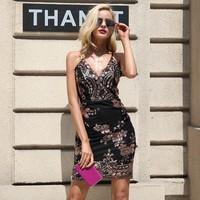 Club Strap Backless V Neck Sequin Party Short Mini Dress