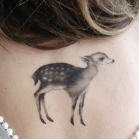 Temporary Tattoo Fawn and Moth Includes 2 Tattoos by BurrowingHome