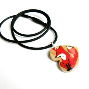 Red Fox Jewelry - Heart Necklace - What Does The Fox Say Jewelry - Fox Pendant - Hand Painted Foxy Foxes Animal Jewelry - Wildlife Jewelry