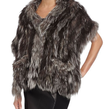 Knit Fox-Fur Shawl with Pockets, Size: ONE SIZE, SILVER FOX - Gorski