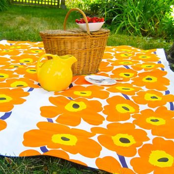 Picnic Blanket - Orange MARIMEKKO Poppies Flowers - Mod Outdoors Family Beach Blanket (Last One)